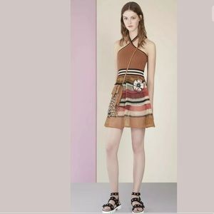 RED Valentino Dresses - Red Valentino Floral Crochet Striped Halter Dress